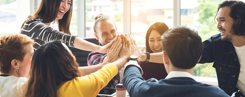 Gesture Hand High Five Of Group Employee Laughing Together With